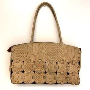 Vintage   tan python snakeskin patchwork purse